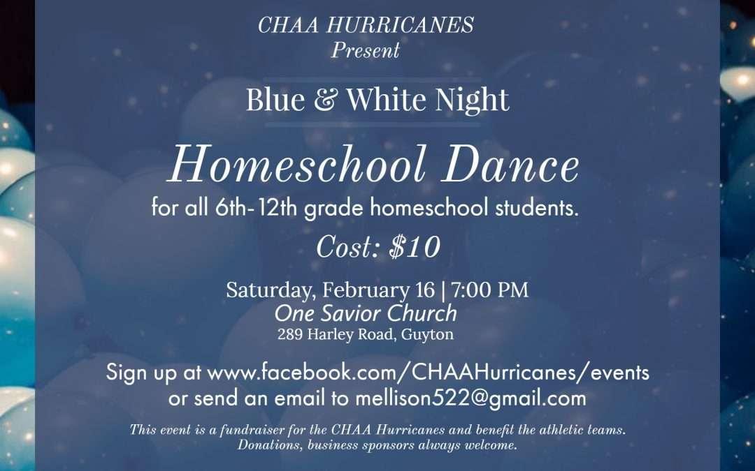 Blue and White Homeschool Dance Saturday February 16 2019